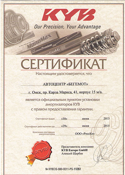 Амортизаторы KYB в Омске